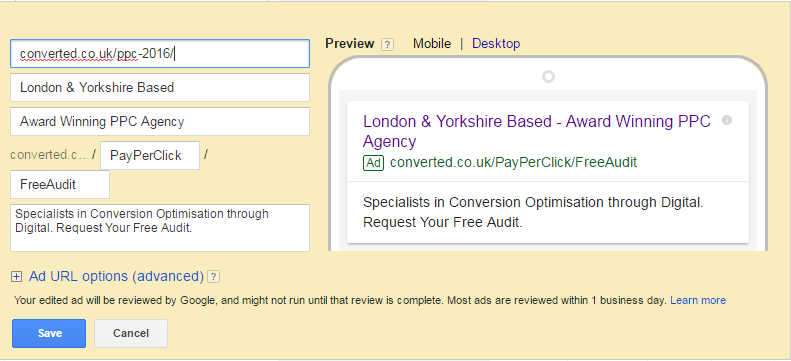 Google AdWords Expanded Text Ads Get Second Description Field