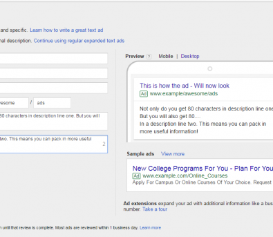 example of new second description feature for expanded text ads