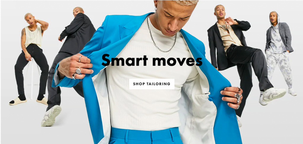 Screenshot of ASOS as an example of mirroring images with copy.