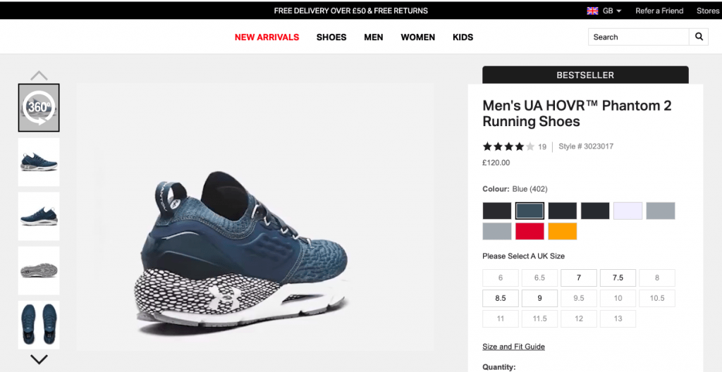 Screenshot of Under Armour showing the use of interactive images on your website.